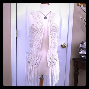 Painted Threads size S knitted fringe vest
